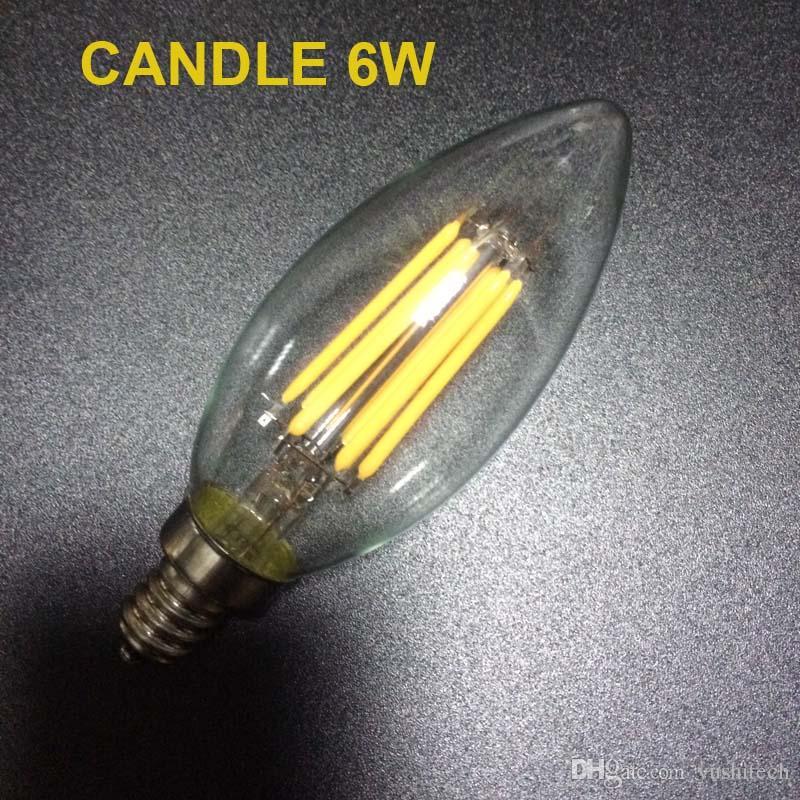 E12 E14 E26 Basis Dimmable 2/4 / 6W LED-Glühfadenlampen 110lm / w 2700K 110V 220V C35 Kugelkopf C35T gebogene Spitze COB-Glühlampe CE, UL-Zulassung