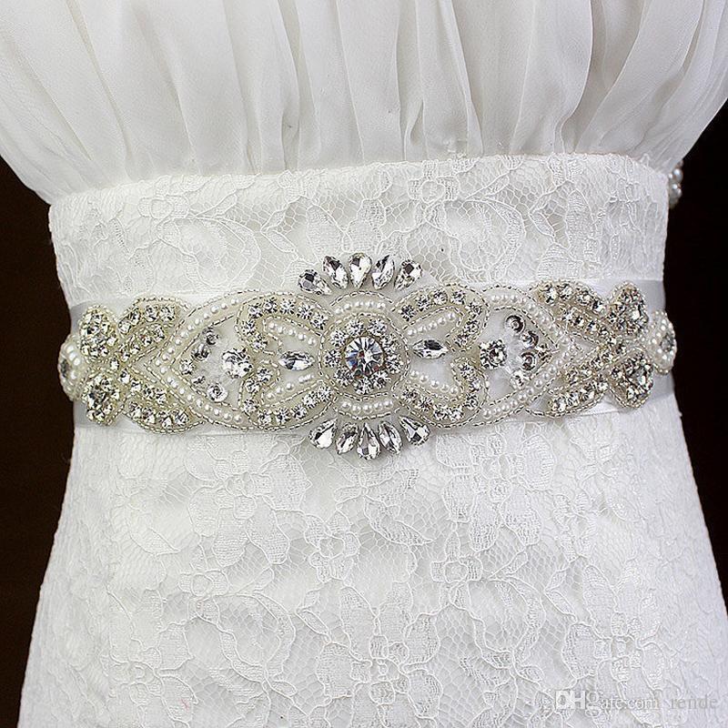 Großhandel Braut Rhinestone Perlen Gürtel Kristall Perle Elfenbein ...