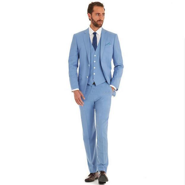 2017 Romantic Light Blue Suit Three Piece The Groom Dress Elegant ...
