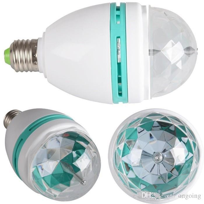 RGB LED bulb Full Color 3W 220v projector Crystal Stage Magic Ball RGB Full Color 3W E27 LED Bulb Crystal Auto Rotating Stage Effect Light