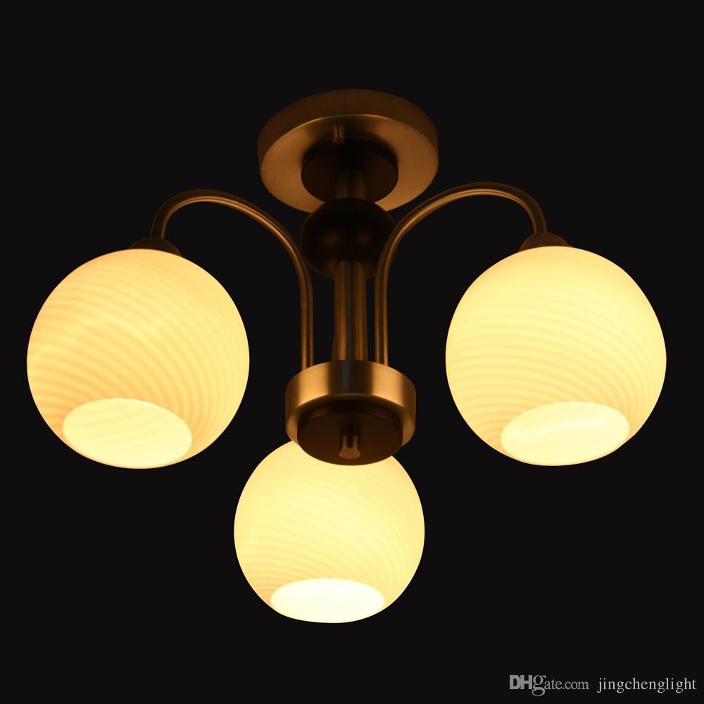 Modern Art Deco Chandelier 3 Lights Indoor Pendant Lamps Glass Ceiling Light Fixture Ac 220 Volt Nordic Copper Lighting Island