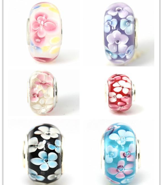 20 pçs / lote Flor De Vidro Murano Único Núcleo Beads para Fazer Jóias Solta Lampwork Encantos DIY Beads para Pulseira Atacado a Granel Baixo Preço