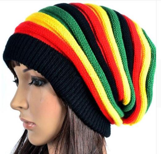 Fashion Bob Marley Jamaican Reggae Cap Multi Colour Striped Rasta Hat  Slouchy Baggie Beanie Skullies Gorro Rasta Women Sun Hats Sun Hat From ... 793e1353b0b