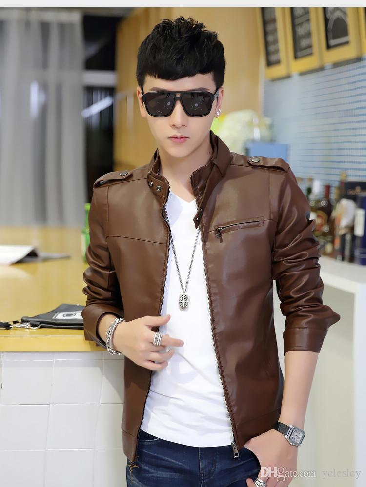 Spring Autumn Brand Leather Jacket Men Slim Short Stand Collar Jaqueta Couro Bomber Jacket Faux Leather Fur Coat Suede