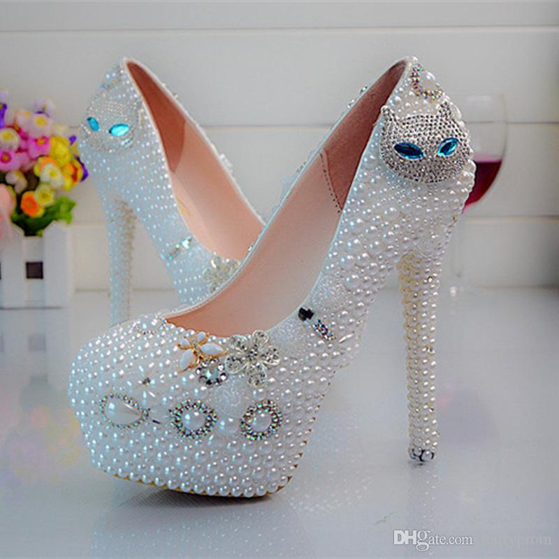 Gorgeous Diamond Cat Rhinestone Wedding Shoes Nightclub Party Dancing High  Heels Prom Event Shoes Plus Size 43 44 45 White Pearl Navy Bridal Shoes  Navy ... 83ce7a58bce3