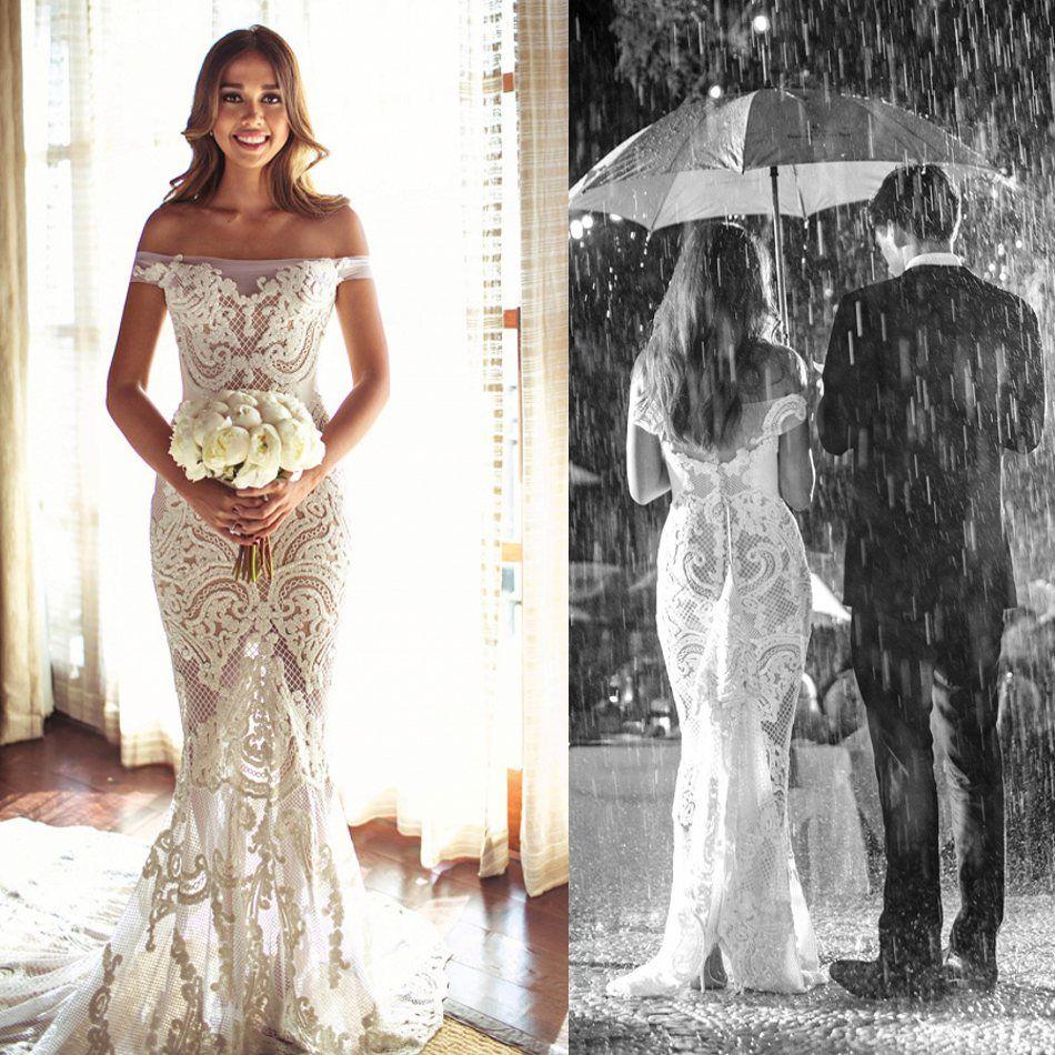 2016 Mermaid Illusion Wedding Dresses Off Shoulder Sleeveless Full ...