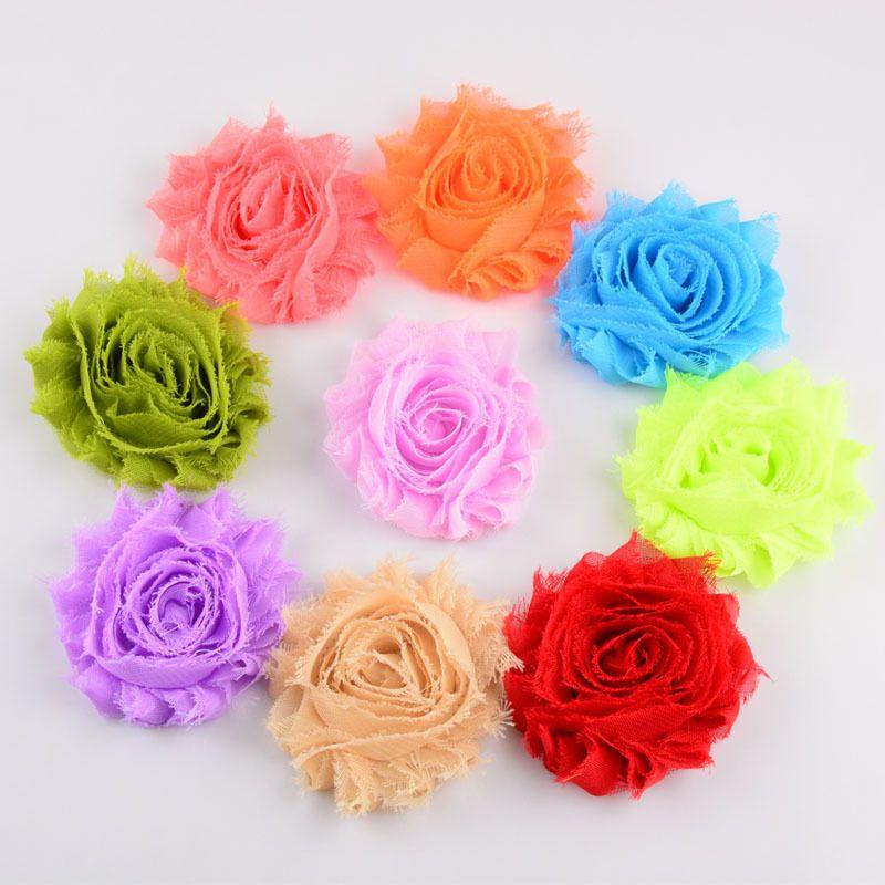2.5 inch Shabby Chiffon Flower Kids Infant Headband Clothing DIY Aceessories Hair Clip Hair Sticks Photography Props
