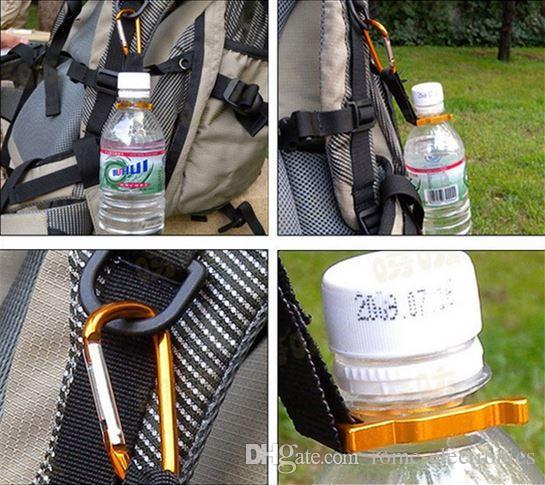 Flaschenschnalle Kleines Werkzeug D-Ring Aluminiumlegierung Mineralwasserknopf Kesselschnalle Outdoor Equipment
