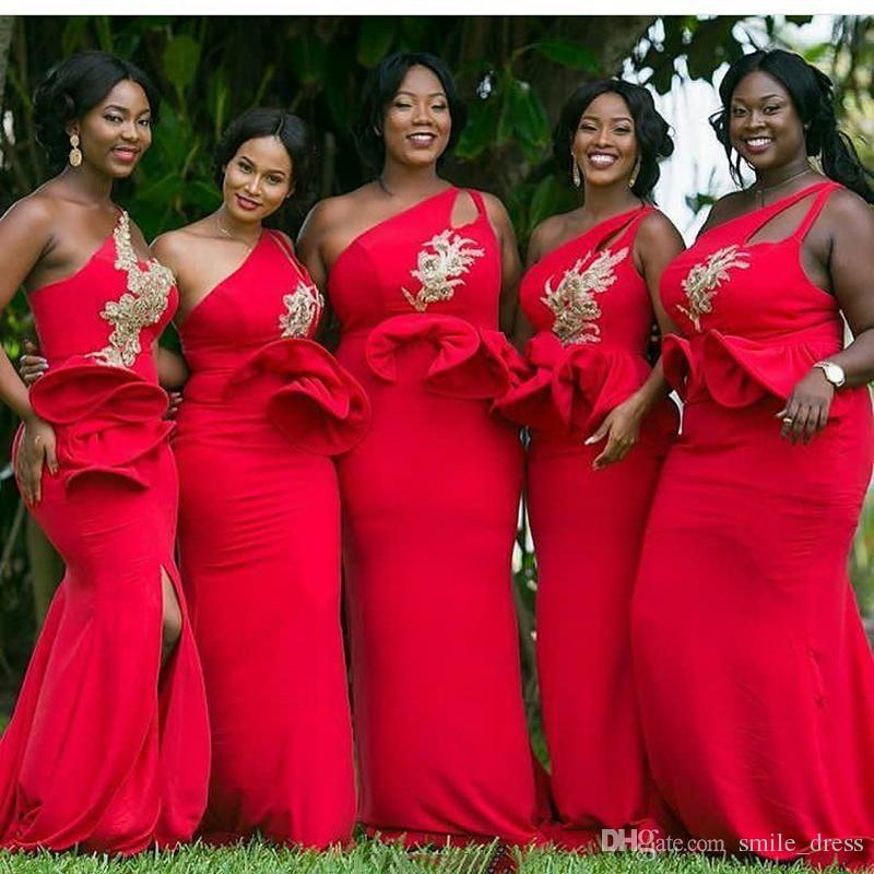 Red One Shoulder Mermaid African Bridesmaid Dresses