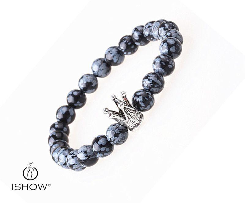 Charm Natural Stones Bracelets Gray Round Alabaster Beads Crown Bracelets&Bangles For Man Trendy Jewelry Friends' Gifts Alabaster Bracelets Bracelet for Man ...