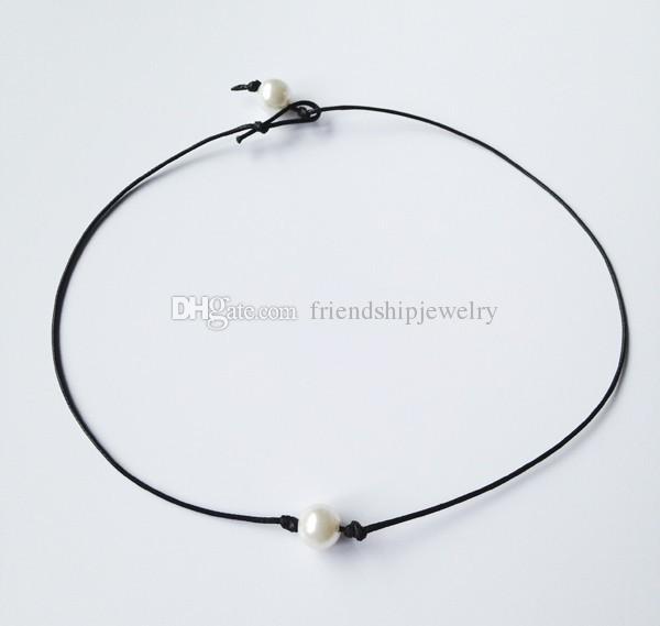 Collar de perlas blancas de agua dulce cultivadas de 10 mm Collar de perlas de cuero negro con perlas auténticas Joyas hechas a mano de perlas flotantes Best Friend Accessories