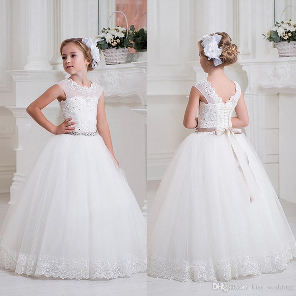 Lace Jewel Neck Flower Girls\' Dresses For Wedding With Sash Little ...
