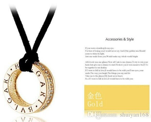 Ring and Diamond Manufacturer Supply Gold and Silver Black Rope Necklace Pendant For Women Jewelry Nickel