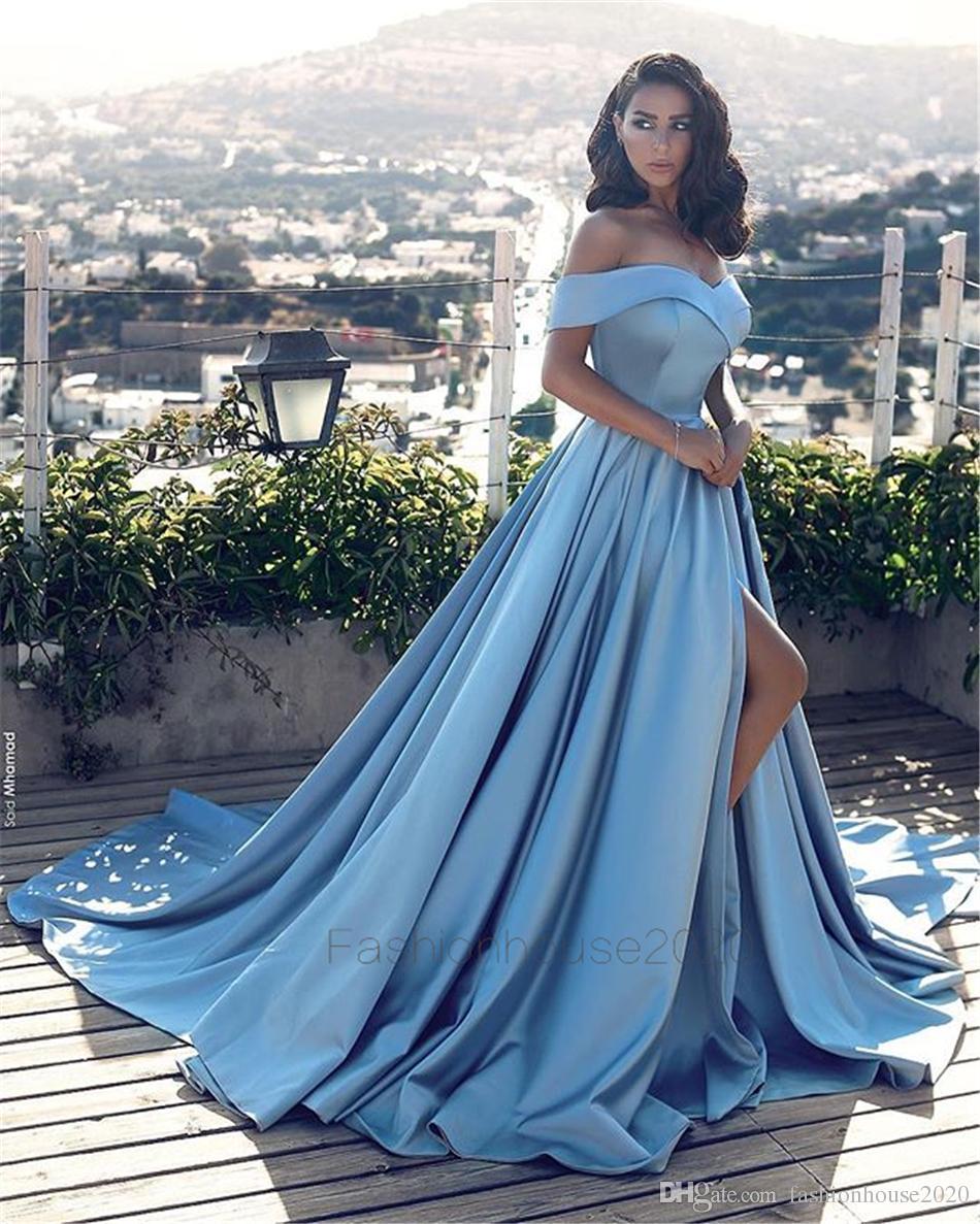 Modest Light Blue Satin Prom Dresses Long Off The Shoulder Cheap Formal Party Gowns Evening Wear With High Split Custom Designer