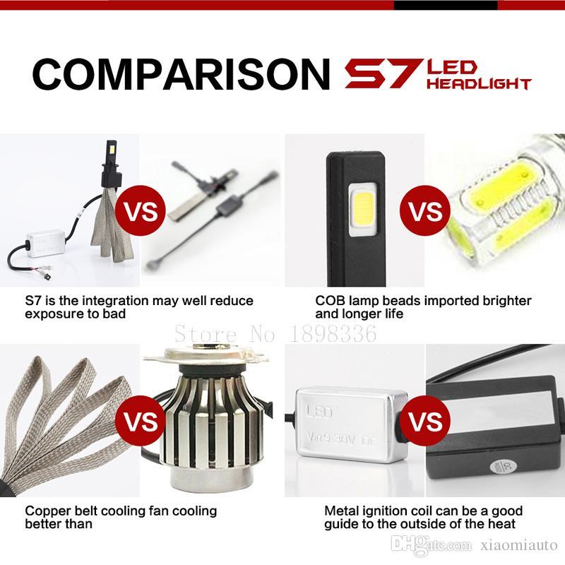 Headlamp IP68 Waterproof S7 H3 CP7550 Fashionable Auto Car S7 LED Headlight Bulbs Conversion Kit 60W 6000K 6400LM