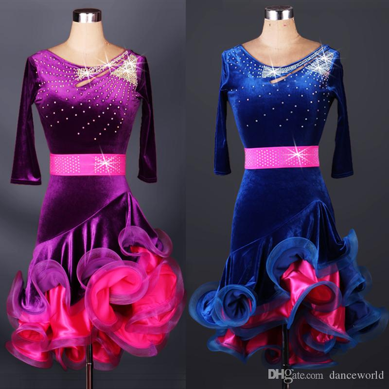 2018 Adulte / Enfant Robe De Danse Latine Cha Cha / Rumba Femmes / Filles Costume De Danse Dentelle Dentelle Lulu Jupe Robe De Latine Latino Latin Concours