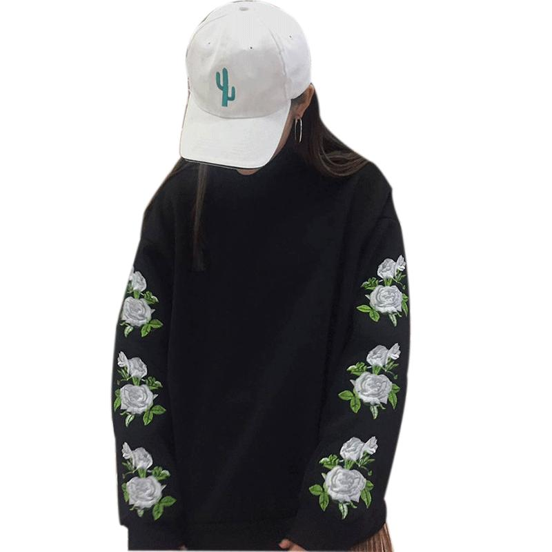 2019 Wholesale Sudaderas Mujer 2017 New Fashion Spring Harajuku Women  Hoodies Pullover Rose Embroidery Sweatshirt Tracksuits Moletom Feminin From  Sizhu 405ace5a07fe2