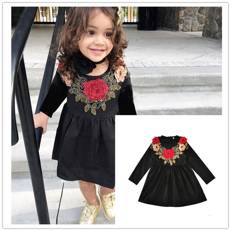 2019 Girls Embroidery Flower Long Sleeve Dress Black Floral Princess