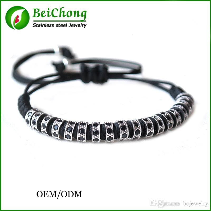 10 unids BC Anil Arjandas pulsera de los hombres, Pave Negro CZ Zircon Connector Bead Trenzado Buje pulseiras feminina Macrame Bangle BC-0249