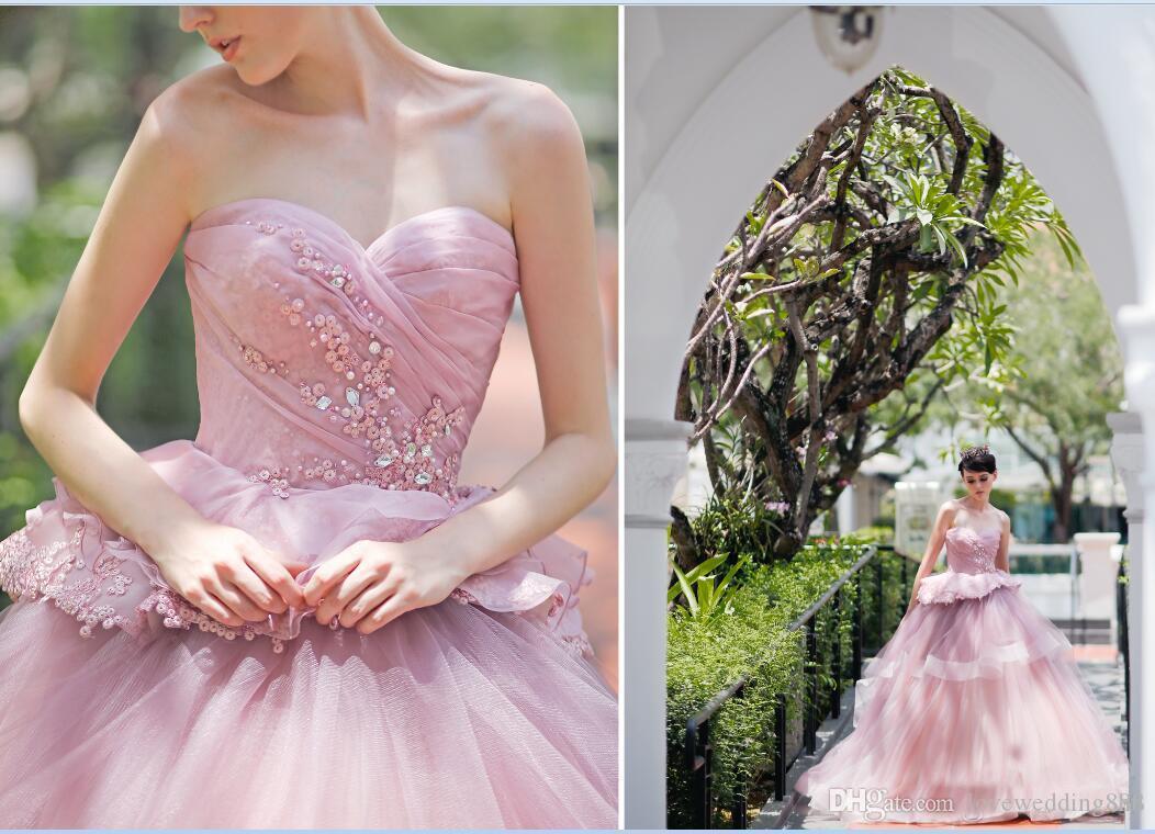 Розовые свадебные платья 2017 бальные платья с блестками бисером рюшами тюль свадебные платья развертки поезд Vestido De Novia Garden Custom