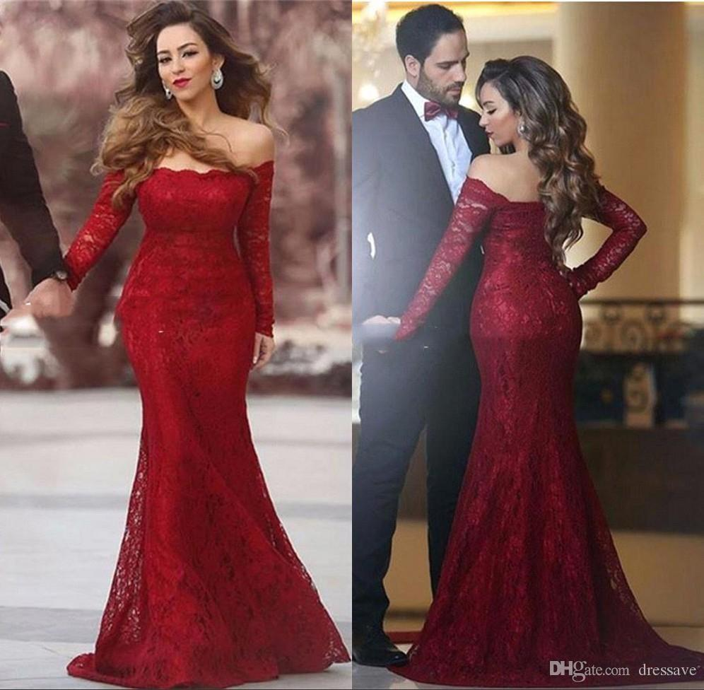 Elegant Off Shoulder Full Lace Prom Dresses 2017 Fall With Long ...