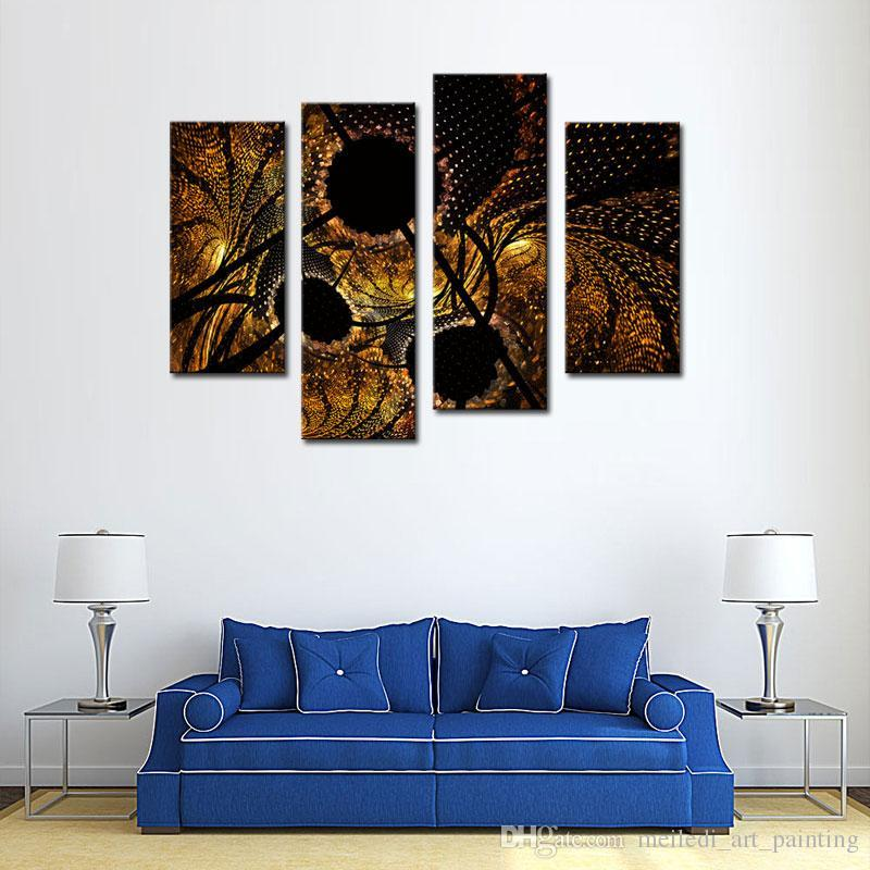 4 Picture Combination Abstract Circles Black Yellow Wall Art