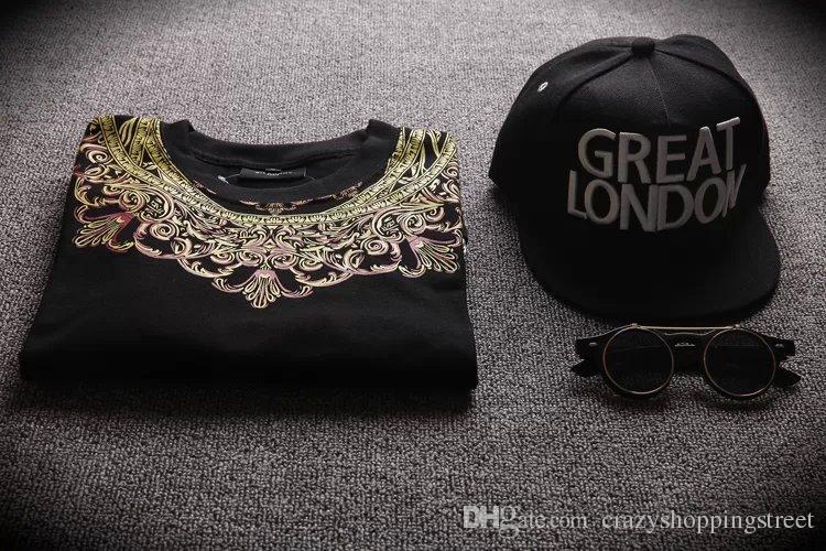 Ünlü Marka Underated Londra Bandana Gömlek Yan Fermuar Çiçek Baskı Uzatın T Gömlek Erkekler Hipster Streetwear Hip Hop Tee Tops