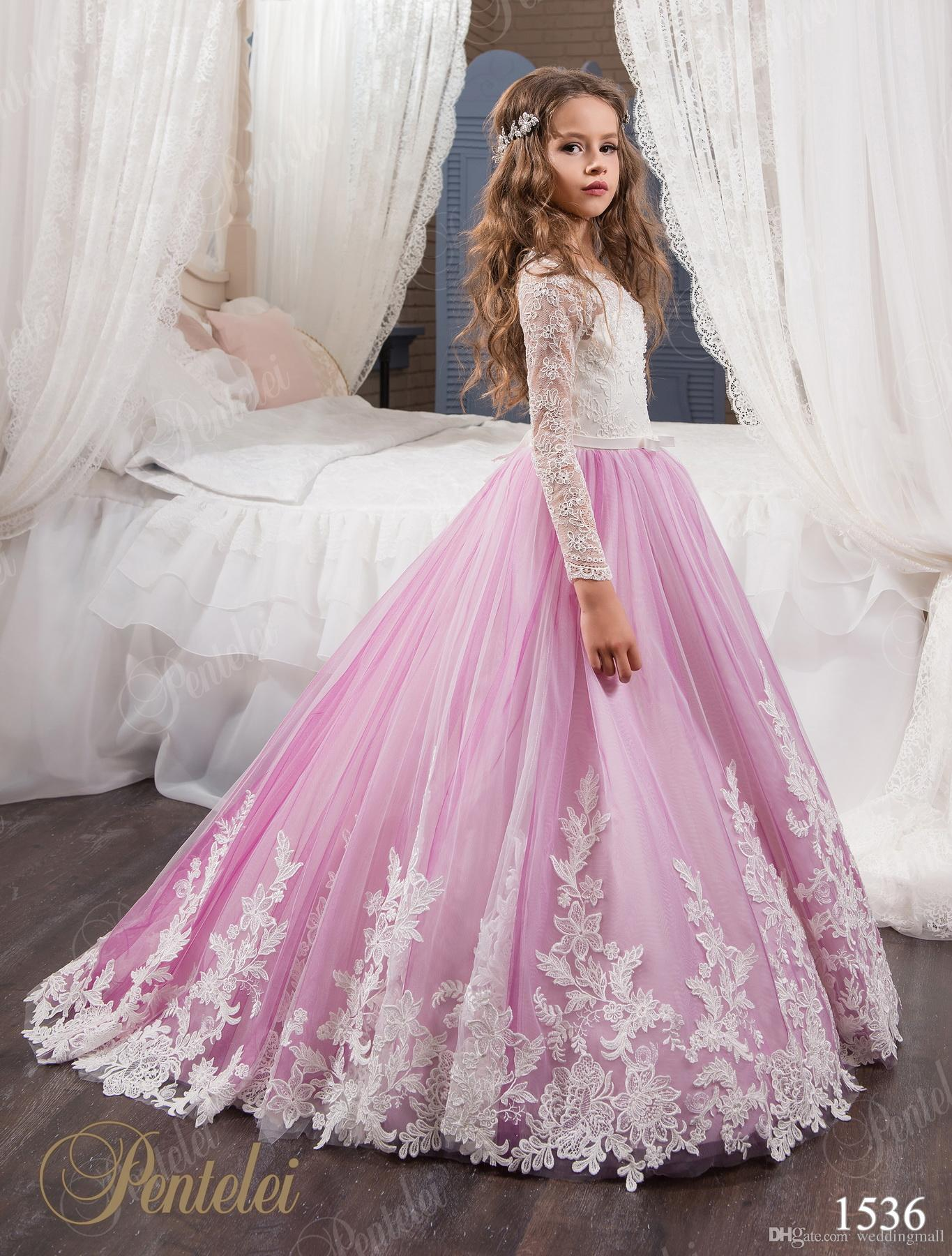 Vintage princess floral lace arabic 2017 flower girl dresses long vintage princess floral lace arabic 2017 flower girl dresses long sleeves tulle child dresses beautiful flower girl wedding dresses f0678 flower girl ombrellifo Image collections
