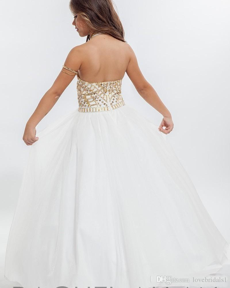 2019 Halter Gold Crystal Tulle White Ball Gown Girls Pageant Dresses Backless Toddler Little Girls Pageant Dresses For Juniors