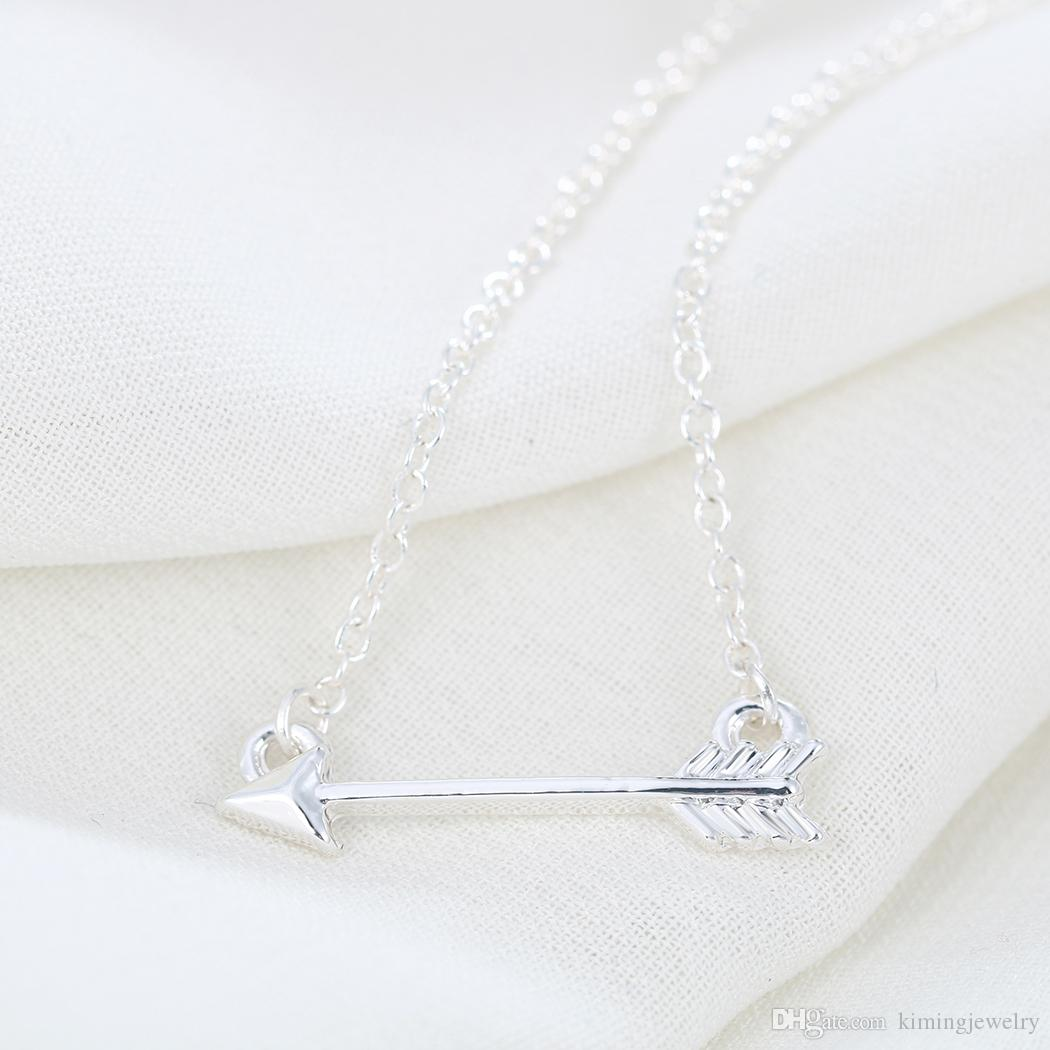 Wholesale Gold Silver One Direction Cupid's Arrow Necklaces & Pendants Accessories for Women Girlfriend Gifts My Orders