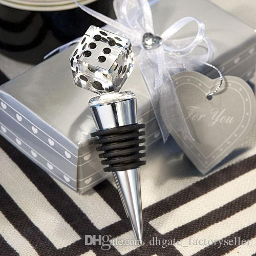 Unique Wedding Gift High Quality K9 Crystal Dice Bottle Stopper Bridal Shower Favors For Male Guests+