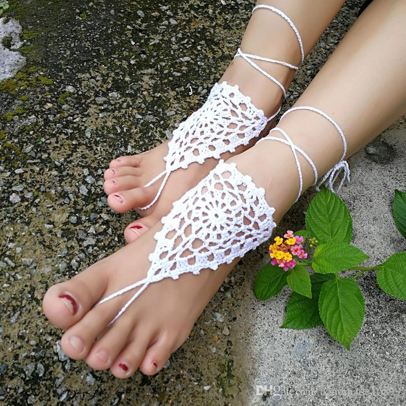 23e79f2e043d OR Bridal Barefoot Sandals White Crochet Barefoot Sandals Bridal Foot  Jewelry Beach Wedding Barefoot Sandals Lace Shoes Beach White Shoes Silver  Sandals ...