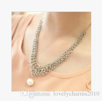 Drop Pearl Silver Necklace Exquisite Crystal Gem luxurious Evening Dress Party Stage Bib Statement Necklace Jewelry for Women Collar Choker