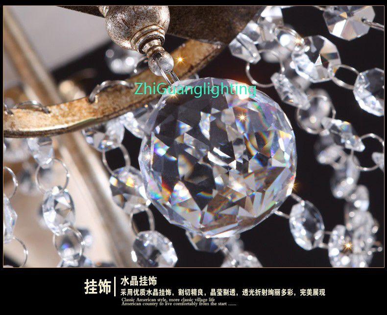 Amerikanisches Wohnzimmer Kronleuchter Restaurant Schlafzimmer Land Französisch Retro Schmiedeeisengarten Einfache Kreative Europäische Kristall Kronleuchter
