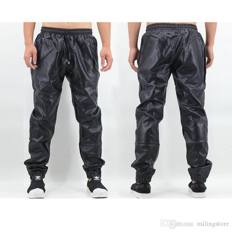 e935bfd2 2019 PU Leather Pants Men Elastic Waist Plus Size Side Zipper Hip Hop  Leather Trousers Fashion Kanye West Justin Bieber Style Pants From  Milingstore, ...