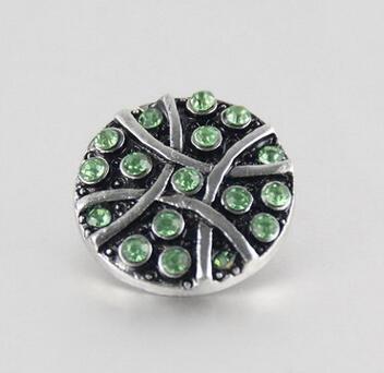 Yeni varış sivler 18mm noosa topakları yeşil rhinestone ile giner düğme moda mektup jwlery aksesuarları snap düğmesi charm fit kolye