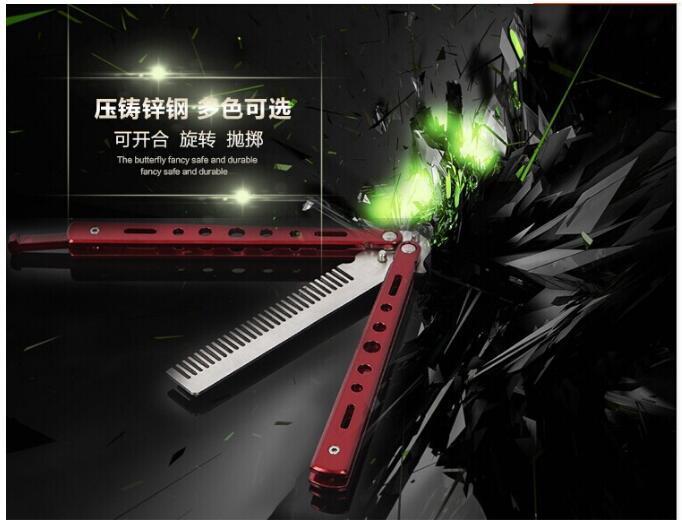 Nouvelle arrivée délicate Pro Salon en acier inoxydable pliage formation papillon pratique style couteau peigne outil /