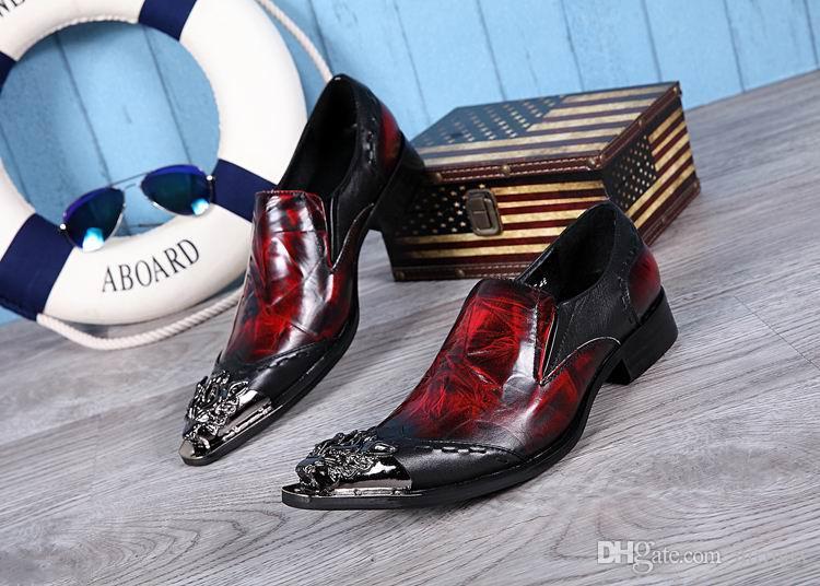 Lujo para hombre de negocios ocio zapatos de vestir diseñador británico Metal Toe Charm Slip en los zapatos de cuero para hombre negro rojo 38-46