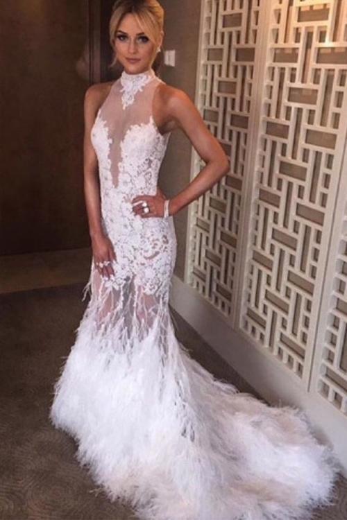 Marfim De Pele De Formatura Vestidos de Gola Alta Pena Vestido de Noite Sereia Elegante Ocasião Especial Vestido de Renda Applique Sheer Neck Illusion Árabe Dubai