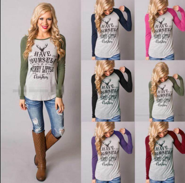 Großhandel Weihnachten T Shirts Elch Weihnachten Deer Shirts Frauen ...
