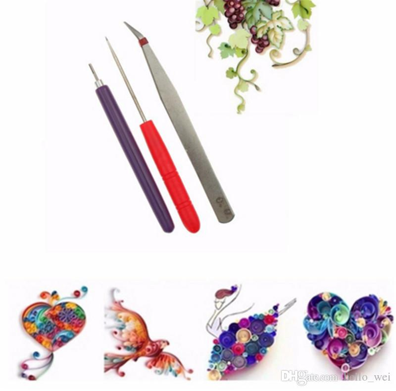 Flower DIY Paper Quilling Tool Tweezer+Slotted +Needle Handmade Kit Fabric DIY Tools Paper Craft For Kid Scrapbooking