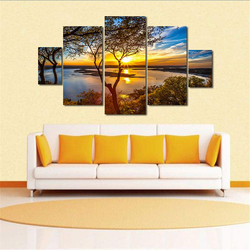 2018 5 Panels Sunset River Landscape Picture Print Modern Wall Art ...