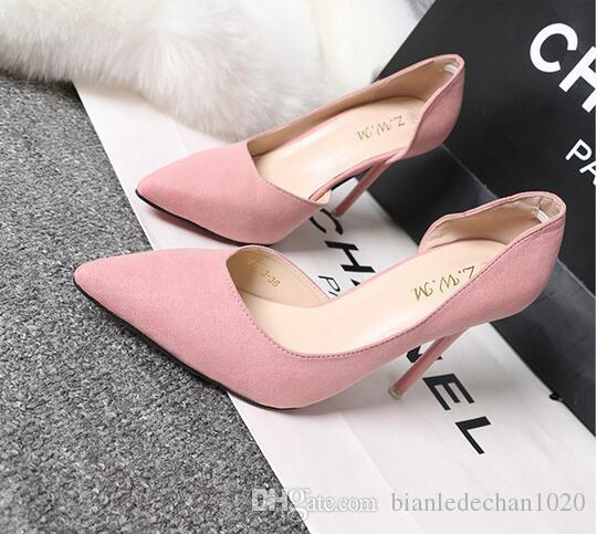 Korean version of the simple thin with high-heeled velvet suede was slim, shallow mouth pointed sexy hollow hollow shoes