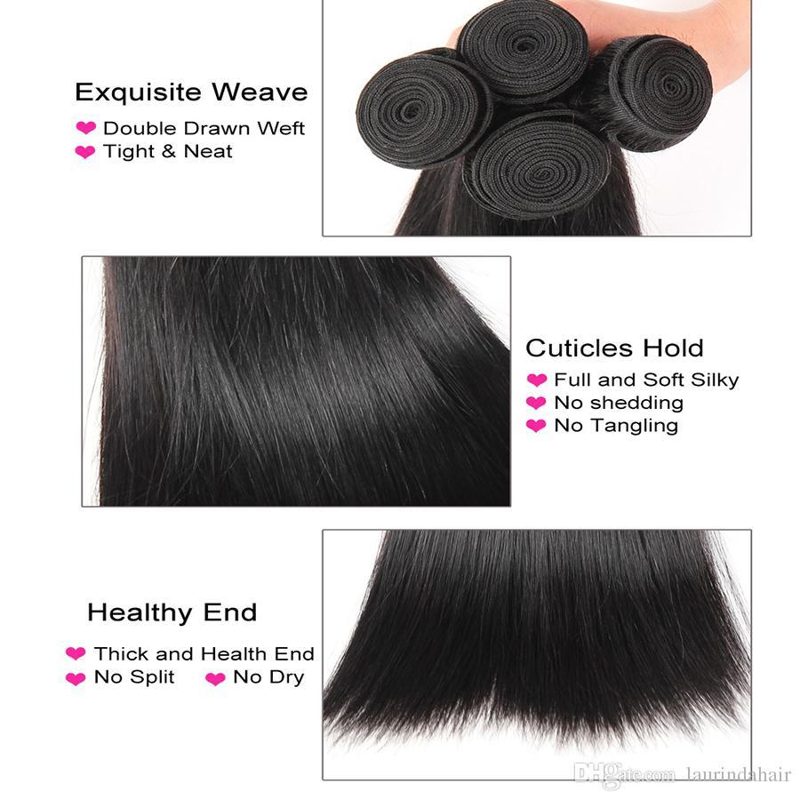 Brazillian pelo liso teje con cierre frontal de encaje completo libre medio 3 parte 13x4 frontal de encaje con paquetes de cabello humano virgen / lote