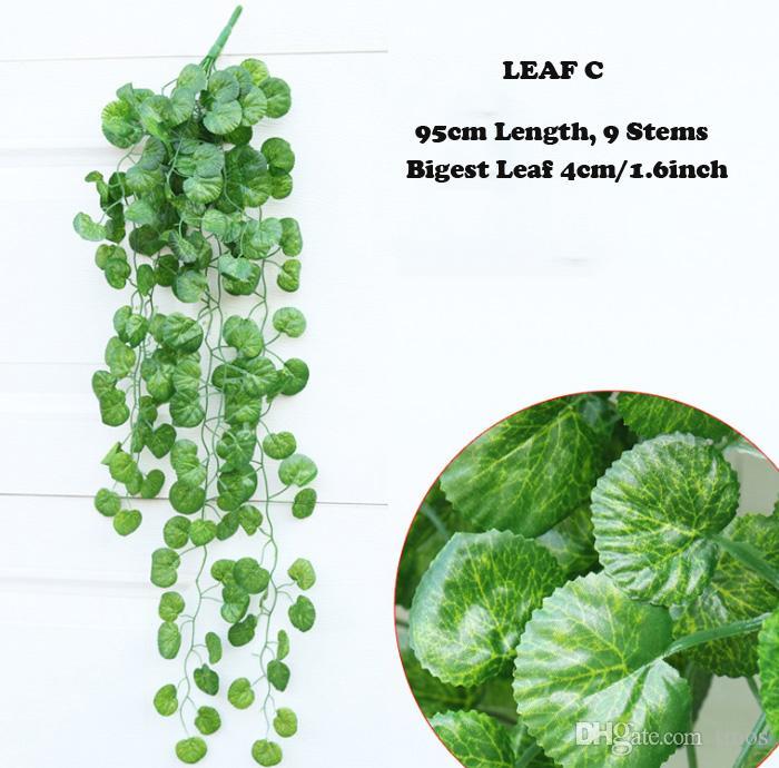 10 ADET Yeşil Yapay Sahte Asılı Vine Bitki Yapraklar Yeşillik Çiçek Garland Ev Bahçe Duvar Asılı Dekorasyon IVY Vine Malzemeleri