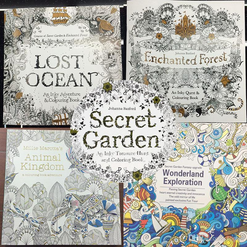 2016 New 96 Pages An Inky Treasure Hunt And Coloring Books Secret Garden Enchanted Forest Lost Ocean Animal Kingdom Wonderland Colouring Book For