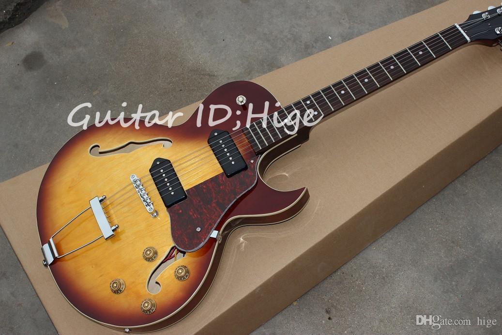 Nouvelle arrivée vente chaude Jazz Guitare Électrique Corps Creux avec sunburst couleur, haute qualité Guitarra Chinois OEM Instruments de Musique