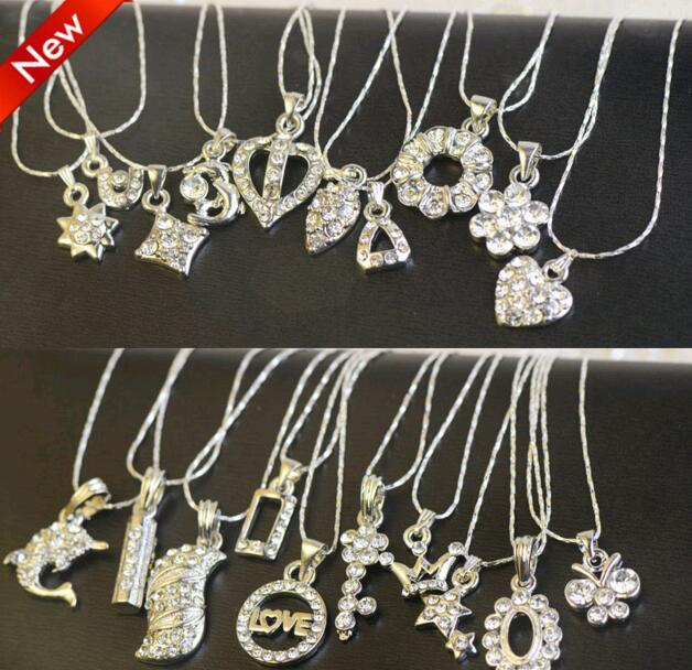 10 pçs / lote mistura estilo de prata banhado de cristal gargantilha pingente colar para DIY artesanato moda jóias presente ne20