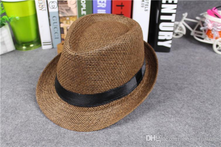 2018 Vogue Erkekler Kadınlar Hasır Şapkalar Yumuşak Fedora Panama Şapka Açık Cızırtılı Ağız Caps Mix Sipariş Kabul