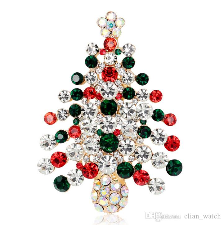 2018 2016 New Christmas Tree Brooch Rhinestone Crystal Brooches For ...